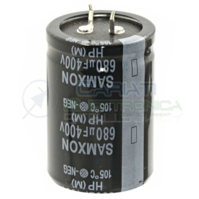 680uF 400V Condensatore Elelettrolitico Snap-In 35 x 50 mm 105° passo 10mm Samxon Samxon