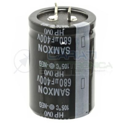 Condensatore Elelettrolitico SNAP-IN 680uF 400V 35 x 50 mm 105° PASSO 10mm SAMXON Samwha 6,40€