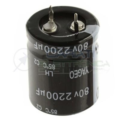 Condensatore Elelettrolitico SNAP IN 2200uF 80V 25 X 30 mm 85° PASSO 10mm YAGEO  1,69€