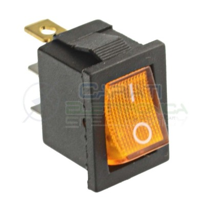 Interruttore Giallo a Bilanciere 0 1 ON OFF 6A 250V da pannello con Luce SPST  0,90 €