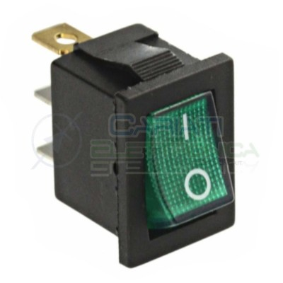 Interruttore Verde a Bilanciere 0 1 ON OFF 6A 250V Da Pannello Con Luce SPST  0,89 €
