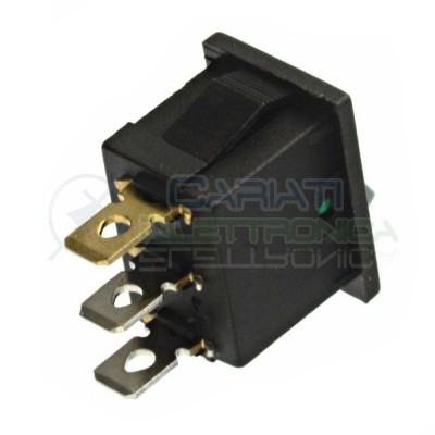 Interruttore Verde a Bilanciere 0 1 ON OFF 6A 250V Da Pannello Con Luce SPST