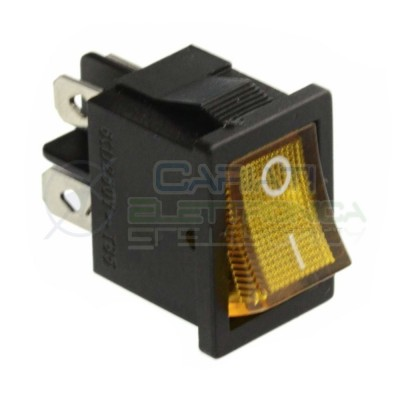 Interruttore Giallo A Bilanciere Bipolare ON OFF 6A 250V Da Pannello Con Luce DPST