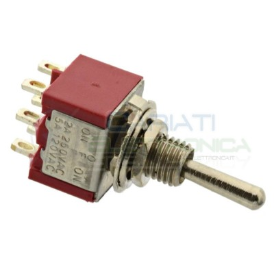 Interruttore Deviatore a Leva ON OFF ON 2A 250V 6 Pin DP3T Bilanciere