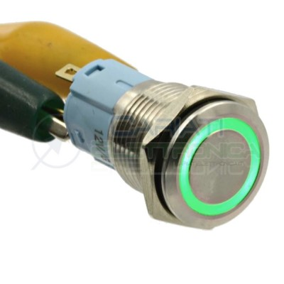 Interruttore con Led Verde 12V in Metallo Antivandalo 16mm SPDT 250Vac 3A