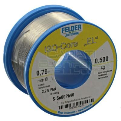 STAGNO FELDER 500gr Diamentro 0.75mm Sn 60 Pb 40 60-40 flux 2.2% 60/40 BOBINA ROTOLOFelder