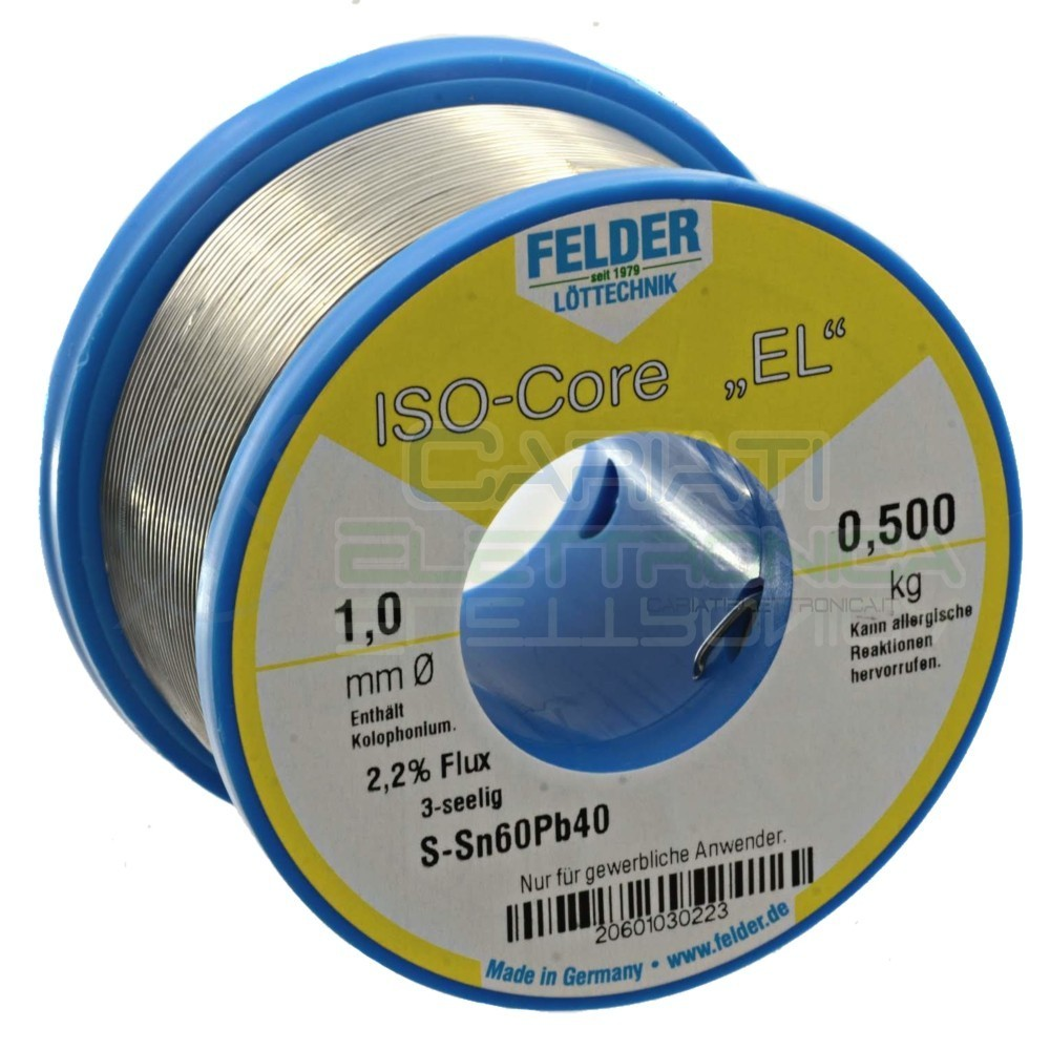 500 gr Stagno FELDER D. 1 mm 60/40 Flux 2.2% Sn 60 Pb 40 60-40 Bobina rotolo filo 0,5 kg Felder 25,62€