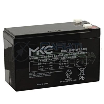 BATTERIA RICARICABILE AL PIOMBO 12V 9Ah per UPS Bici elettriche Allarme MKC1290MKC