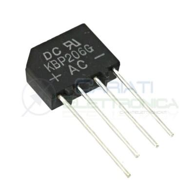 3 Pezzi Ponte raddrizzatore piatto KBP206G 600V 2A DC COMPONENTS 0,89 €