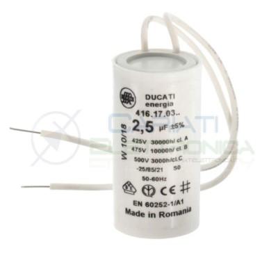 Condensatore per avvio motore 2,5uF 2500nF 475Vac 28x50 5% terminale a filo 2,29 €