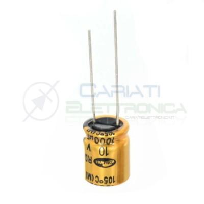 10 PEZZI CONDENSATORE ELETTROLITICO 1000uF 1000 uF 10V 105° 10X12 mm Passo 5mm SAMWHA Samwha 0,89€