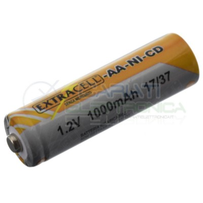 Batteria 1,2V AA Stilo 1000mAh Ricaricabile NiCd 1,2 Volt Extracell