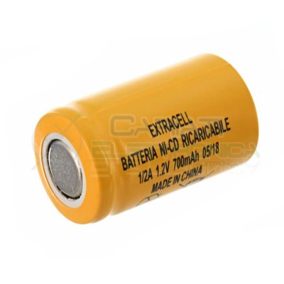 BATTERIA RICARICABILE NI-CD 1,2V 700mAh 1/2A 2/3AF EXTRACELL Extracell
