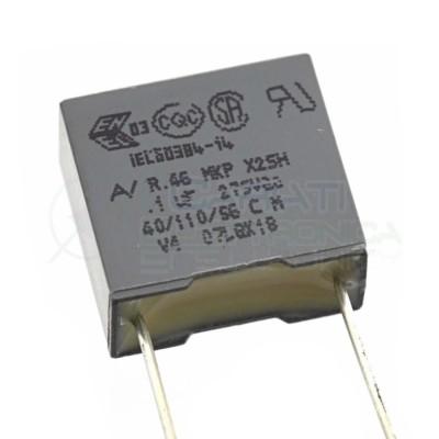 3 Pezzi condensatore Poliestere 100nF 0.1uF 275Vac passo 10mm R46 Kemet