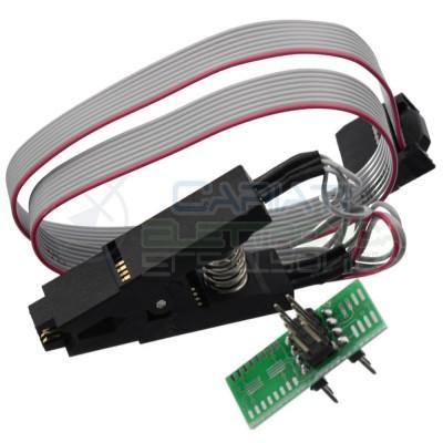 Pinza Adattatore Clip Test per integrati SOIC8 SOP8 a DIP8 con cavo