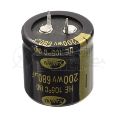 Condensatore Elelettrolitico SNAP IN 680uF 200V 30 X 30 mm 105° PASSO 10mm SamwhaSamwha