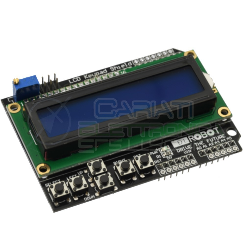 Display Shield LCD 16x2 1602 per ARDUINO CON TASTIERA 6 Pulsanti  3,79 €