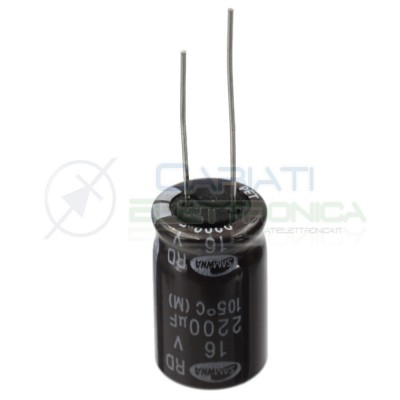 5 PEZZI CONDENSATORE ELETTROLITICO SAMWHA 2200uF 2200 uF 16V 105°C 12x20 mm Passo 5mmSamwha