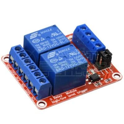 Board 2 Relays coil 12V Dc Songle SRD-12VDC-SL-C Spdt 250V 10A Arduino PcbGenerico