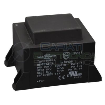 Trasformatore alimentatore incapsulato 28VA 15V Ingresso 230V Ac Uscita 2 x 15V