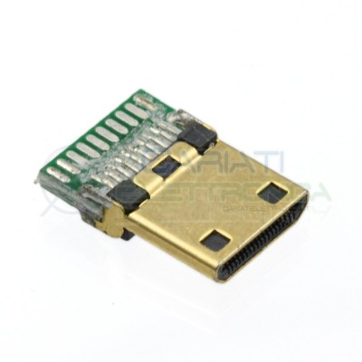 PEZZO Connettore porta MINI HDMI maschio 19pin a saldare da PCB DIP Circuito  1,00€