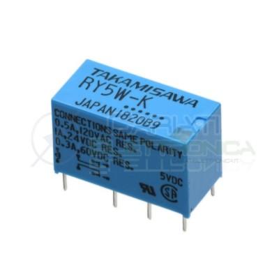 Relè doppio 2 scambio TAKAMISAWA RY5W-K 5VDC 5V DC 0.5A 120V DPDT