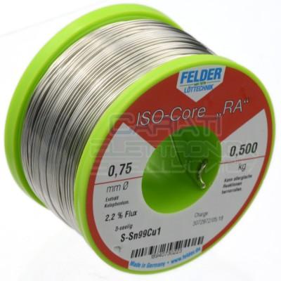 500 gr Solder wire Felder D. 0.75mm flux 2.2% Sn 99 Cu 1 reel 0,5 kgFelder
