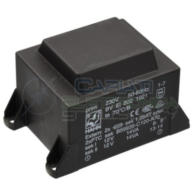Trasformatore incapsulato 28VA Ingresso 230V Ac Uscita 2x12V DC