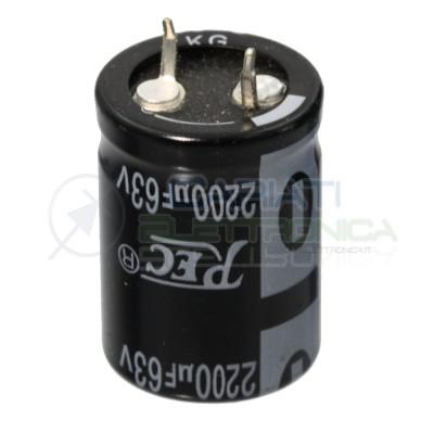 Condensatore elettrolitico snap-in 2200uF 63V 2200 uF 85C 22x30mm passo 10mm Generico 1,25€