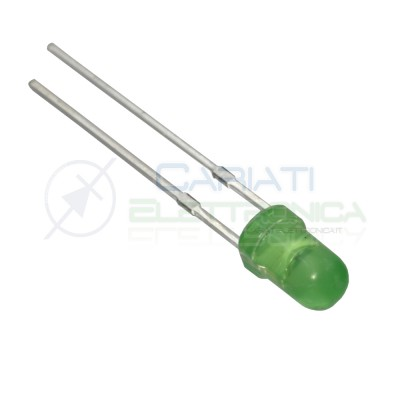 1000 pezzi Led 3mm luce verde diffusa 1000mcd alta luminosità diffusi Generico