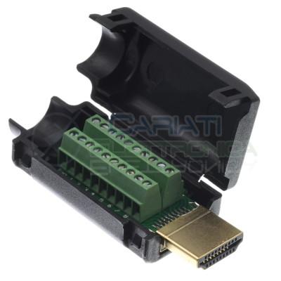 Connettore adattatore porta spina HDMI maschio 19pin per cavo con morsettiera a viteGenerico