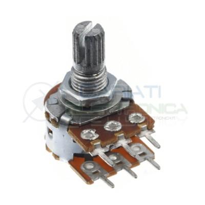 Potenziometro 22Kohm B22K stereo rotativo lineare doppio 22 Kohm 22 K perno 15mm Generico