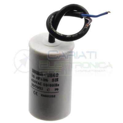 Condensatore elettrico 16uF 450V Cbb60 per motore cancello pompa elettropompa SR Passive