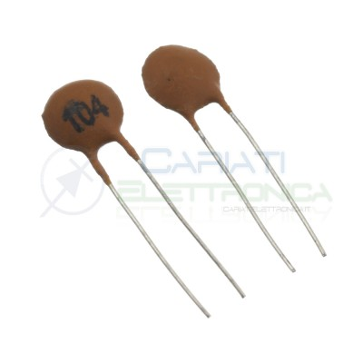 50 pezzi Condensatore ceramico a Disco da 100000pF 100nF 104pF 50V Passo 2,54mm SR Passive