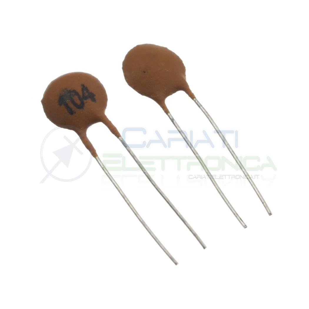 50 pezzi Condensatore ceramico a Disco da 100000pF 100nF 104pF 50V Passo 2,54mm SR Passive 1,69€