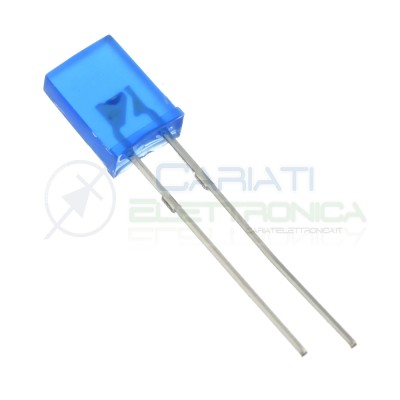 10 pezzi Led Blu rettangolare rettangolari 110° 2x5x7mm Flat Top Generico