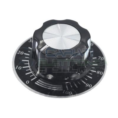Manopola asse 6mm 27x15mm con quadrante numerato potenziometro pomello knob audio Generico