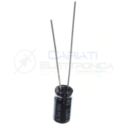 10 PEZZI CONDENSATORE ELETTROLITICO 4,7uF 4,7 uF 100V 105° 5x11 mm Passo 2mm Yageo 0,89€