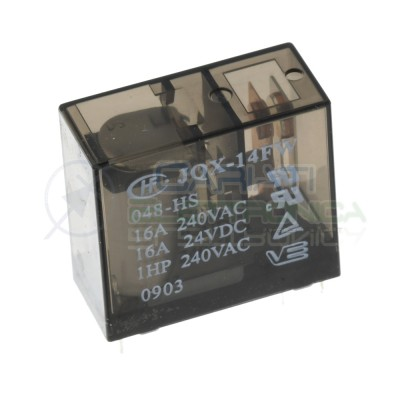 Relè JQX-14FW 048-HS bobina da 48Vdc Contatti 16A 240Vac 16A 24Vdc SPDT HONGFA RELAY