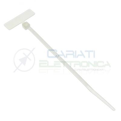 25 Pezzi Fascette 100x2,5mm Bianche con Targhetta Marcatore Generico