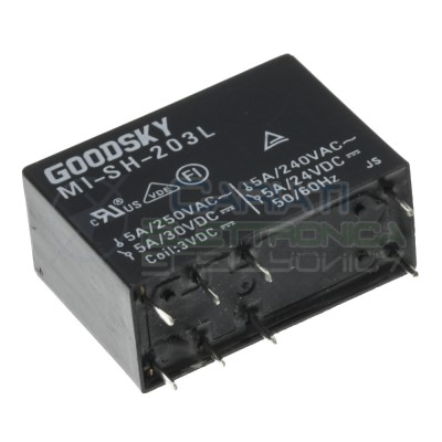 Relè relay Goodsky Bobina 3V MI-SH-203L DPDT per pcb doppio contatto 5A Goodsky 1,69€