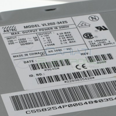 Alimentatore TX Astec VL202-3425 220V 200Watt uscita 12V 8A e 5V 20A  9,59€