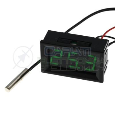 MINI TERMOMETRO DIGITALE da PANNELLO LED VERDE -20 a +100℃ NTC DC auto camper