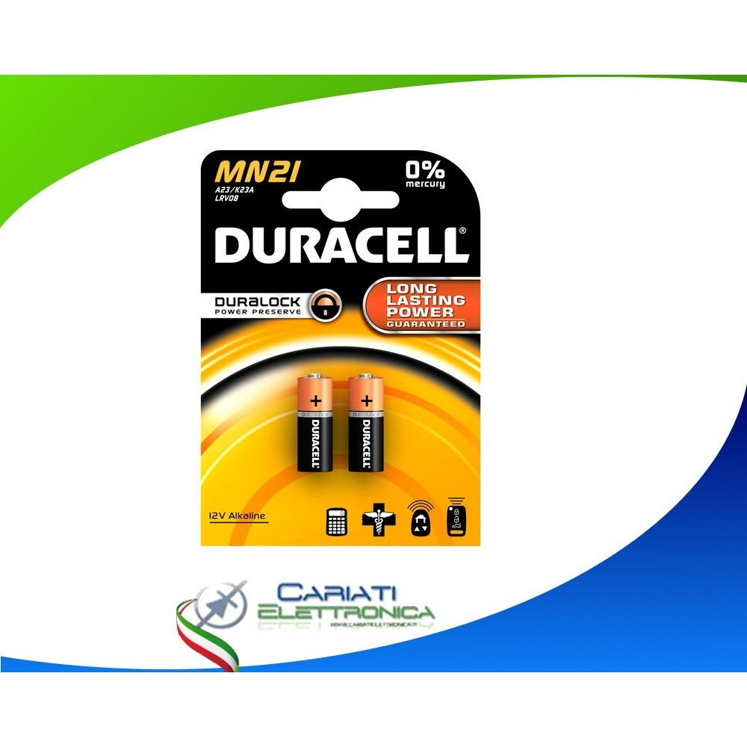 2 PILE BATTERIE DURACELL MN21 A23 K23A LRV08 DURACELL 12 V Alcaline Duracell