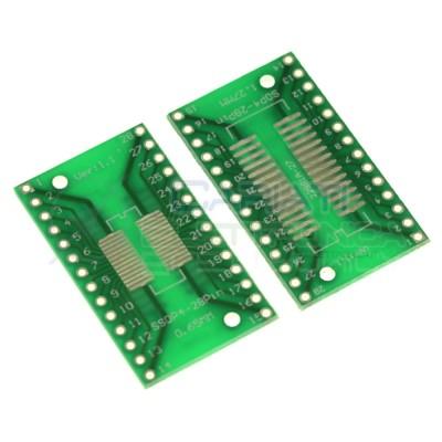 2 pezzi adattatore Basetta Test PCB SOP28 TSSOP28 SSOP28 SMD a DIP28 28pin Generico