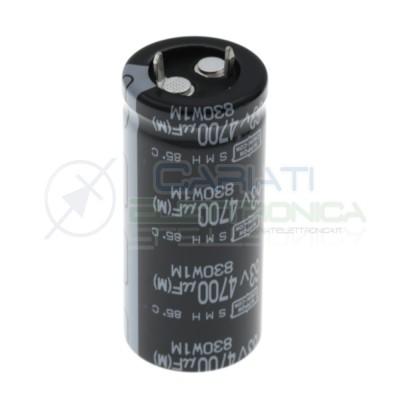 Condensatore elettrolitico Snap in 4700uF 4700 uF 63V 85°C 25 x 40mm Nippon Chemi-con 2,99€