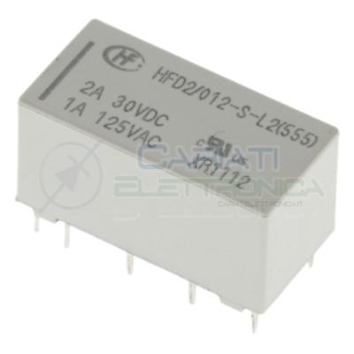 Relè Bistabile Hongfa HDF2/012-S-L2 DPDT Bobina 12V corrente max 2A HONGFA RELAY