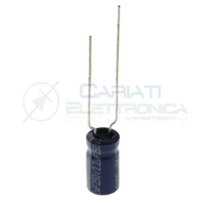 10 Pezzi Condensatore Elettrolitico 2,2uF 2,2 uF 250V 85° 6x11 mm Passo 5mm Yageo