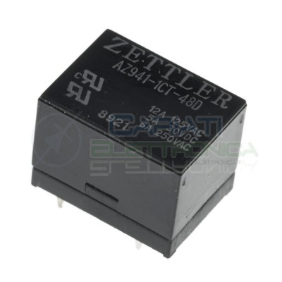 Relay Relè 48V Dc 6A Circuito Stampato Pcb 1 Scambio AZ941-1CT-48D SPDT Zettler