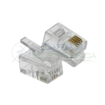 10 Pezzi connettore rj10 spina telefonica a 4 Poli Pin 4P/4C TP44 Generico